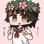1girl :d bangs black_hair blue_sailor_collar blunt_bangs blush brown_eyes commentary_request double_v dress eyebrows_visible_through_hair flower flower_wreath hana_kazari head_wreath highres looking_at_viewer neckerchief open_mouth pink_background pink_flower red_neckwear sailor_collar sailor_dress short_sleeves simple_background smile solo to_aru_kagaku_no_railgun to_aru_majutsu_no_index translation_request uiharu_kazari v white_dress white_flower