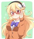 1girl alternate_costume bespectacled black_hairband blonde_hair closed_mouth corrin_(fire_emblem) corrin_(fire_emblem)_(female) eromame fire_emblem fire_emblem_fates glasses green_background hairband long_hair long_sleeves pointy_ears red-framed_eyewear red_eyes simple_background solo twitter_username upper_body