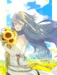 1girl blue_eyes blue_hair field fire_emblem fire_emblem_awakening flower flower_field highres holding holding_flower long_hair looking_at_viewer lucina outdoors sasaki_(dkenpisss) smile solo sunflower tiara