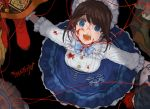 1girl alternate_costume black_background blood blood_on_face bloody_clothes blue_dress blue_eyes brown_hair button_eyes copyright_name dress emma_woods highres identity_v kevin_ayuso looking_at_viewer looking_up open_mouth string totoji
