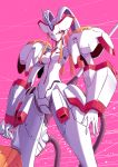 absurdres breasts closed_mouth darling_in_the_franxx feet_out_of_frame fish.boy from_below headgear highres holding holding_polearm holding_weapon horn humanoid_robot joints looking_at_viewer looking_down mecha medium_breasts no_humans pink_background polearm red_eyes robot standing strelizia thighs tube weapon