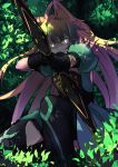 1girl aiming_at_viewer animal_ears atalanta_(fate) blonde_hair boots bow_(weapon) cat_ears commentary dappled_sunlight dress eyebrows_visible_through_hair fate/grand_order fate_(series) foliage gauntlets glowing glowing_eyes green_dress green_eyes kneeling leaf long_hair nahu solo sunlight thigh-highs thigh_boots weapon