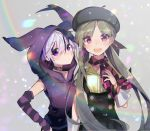 2girls arm_warmers beret blush checkered checkered_scarf collar collarbone expressionless flower_(vocaloid) green_hair hand_on_hip hat holding_scarf hood hoodie jacket lens_flare long_hair looking_at_viewer multicolored_hair multiple_girls note55885 open_mouth pink_eyes purple_hair purple_jacket rainbow scarf shirt short_hair sleeveless_jacket smile streaked_hair suspenders upper_body v_flower_(vocaloid4) violet_eyes vocaloid white_hair xin_hua xin_hua_(vocaloid4) yellow_shirt