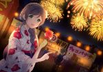 2boys 6+girls :d absurdres alternate_hairstyle bangs braid braiding_hair candy_apple chinese_text city_lights cotton_candy crown_braid festival fireworks floral_print food green_eyes hair_over_shoulder hairdressing highres japanese_clothes kanji kazehana_(spica) kimono lampion looking_at_viewer love_live! love_live!_school_idol_project multiple_boys multiple_girls nail_polish night night_sky open_mouth outdoors pointing sky smile sparkle stall stuffed_animal stuffed_toy summer_festival teddy_bear toujou_nozomi yukata