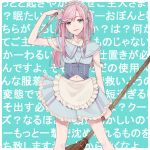 1girl apron arm_up background_text bangs bare_arms blue_background blue_eyes blue_hairband blue_shirt blue_skirt blush breasts broom chisumi collared_shirt commentary_request cross cross_necklace dress_shirt eyebrows_visible_through_hair frilled_apron frilled_skirt frills hairband highres holding holding_broom holding_tray jewelry long_hair maid mole mole_under_eye navel necklace original parted_lips pink_hair pleated_skirt shirt sidelocks skirt small_breasts smile solo translation_request tray two_side_up underbust waist_apron white_apron white_shirt