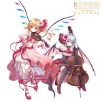 2girls alternate_costume ascot bangs bare_shoulders bat_wings black_legwear blonde_hair blue_hair blush bow braid breasts cello chinese_text commentary_request crystal detached_sleeves dress eyebrows_visible_through_hair flandre_scarlet flower frills full_body hair_flower hair_intakes hair_ornament hair_ribbon highres holding holding_instrument instrument kure~pu leg_ribbon long_hair long_sleeves looking_at_viewer mary_janes medium_breasts multiple_girls no_hat no_headwear off-shoulder_dress off_shoulder pink_dress pink_flower pink_rose red_bow red_eyes red_footwear red_neckwear red_ribbon red_sash remilia_scarlet ribbon rose sash shoes short_hair siblings side_ponytail simple_background sisters sitting smile thigh-highs touhou translation_request violin white_background white_legwear wings