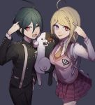 1boy 1girl ahoge akamatsu_kaede alternate_eye_color bangs bear black_hair blonde_hair breasts danganronpa dark_background eighth_note hair_between_eyes hair_ornament heterochromia highres huyuharu0214 jacket long_hair long_sleeves looking_at_viewer monokuma musical_note musical_note_hair_ornament necktie new_danganronpa_v3 open_mouth orange_neckwear pink_sweater_vest pleated_skirt pointing pointing_at_self red_eyes saihara_shuuichi school_uniform sharp_teeth shirt skirt smile striped striped_jacket striped_legwear sweater_vest teeth tongue tongue_out violet_eyes yellow_eyes