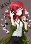 1girl black_pants cellphone character_name coat eyebrows_visible_through_hair green_coat grey_background highres holding holding_phone jewelry long_hair looking_at_viewer love_live! love_live!_school_idol_project necklace nishikino_maki open_clothes open_coat open_mouth pants phone redhead ric_(fwpbox) shiny shiny_hair shirt smartphone solo standing violet_eyes white_shirt