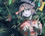 1girl bamboo bangs black_eyes blue_hair chinese_clothes commentary_request eyebrows_visible_through_hair fang flat_cap grey_skin hakonnbo hat head_tilt high_collar highres japanese_clothes kariginu looking_at_viewer miyako_yoshika ofuda open_mouth outstretched_arms parted_bangs short_hair solo standing tanabata tanzaku touhou upper_body zombie_pose