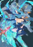 1girl absurdres animal_ears aqua_eyes bare_back bare_shoulders boot_straps boots breasts brown_eyes elbow_gloves ferry_(granblue_fantasy) frown fur_trim gloves granblue_fantasy highres layered_skirt long_hair looking_at_viewer scarf sideboob skirt solo thigh-highs thigh_boots wavy_hair whip you_(nanban319)
