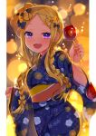 1girl :d abigail_williams_(fate/grand_order) akirannu alternate_costume alternate_hairstyle apple balloon bangs black_bow blonde_hair blush bow braid candy commentary_request fate/grand_order fate_(series) food fruit hair_bow hair_ornament happy highres holding japanese_clothes kimono long_hair long_sleeves looking_at_viewer open_mouth orange_bow parted_bangs smile solo stuffed_animal stuffed_toy teddy_bear twin_braids very_long_hair violet_eyes wide_sleeves