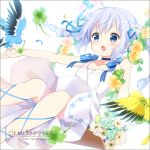 1girl animal artist_name bird blue_bow blue_choker blue_eyes blue_hair blue_ribbon blush bouquet bow braid choker clover collarbone copyright_name dress feathers flower four-leaf_clover gochuumon_wa_usagi_desu_ka? hair_flower hair_ornament highres holding holding_animal holding_bouquet kafuu_chino koi_(koisan) long_hair looking_away official_art open_mouth ribbon solo twin_braids white_dress