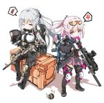 2girls ak-12_(girls_frontline) anger_vein assault_rifle asymmetrical_legwear black_gloves black_pants black_ribbon blush braid breasts closed_mouth explosive eyebrows_visible_through_hair fatkewell french_braid gas_mask girls_frontline gloves grenade gun highres holding holding_gun holding_weapon jacket knee_pads mask mask_removed medium_breasts multicolored_hair multiple_girls one_eye_closed one_side_up open_mouth pants pink_hair pleated_skirt ribbon rifle scope silver_hair sitting skirt smile spoken_anger_vein st_ar-15_(girls_frontline) standing streaked_hair thigh_strap trigger_discipline violet_eyes weapon white_background white_gloves