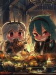 2girls animal_ears artist_name bangs beads black_gloves boned_meat bracer braid bread candle cecile_(porforever) chandelier chibi clenched_teeth coin commentary dog_ears dog_girl dog_tail eating english_commentary food food_on_face gloves green_hair grin hair_beads hair_between_eyes hair_ornament hairband highres indoors long_hair looking_at_viewer meat multiple_girls original porforever red_eyes rope sharp_teeth short_hair side_braid single_braid slit_pupils smile symbol_commentary tail tavern teeth v-shaped_eyebrows white_hair