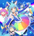 1boy 4girls :d :q abstract_background animal_ears bakenyan_(precure) black_neckwear blue_cat blue_gloves blue_hair blue_headwear blue_legwear braid cat_ears cat_tail character_doll choker cowboy_shot cure_cosmo earrings elbow_gloves extra_ears furry gloves green_eyes hat holding jewelry long_hair looking_at_viewer magical_girl mao_(precure) mini_hat mini_top_hat multicolored multicolored_clothes multicolored_hair multicolored_skirt multiple_girls multiple_persona open_mouth orange_eyes outstretched_arms pantyhose pink_hair precure purple_hair shirt skirt sleeveless sleeveless_shirt smile spread_arms star_twinkle_precure tail tongue tongue_out top_hat twin_braids two-tone_hair urabe_(mstchan) yuni_(precure)