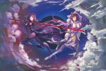 2girls armored_boots ass bare_shoulders bodysuit boots breasts clouds crown fate/grand_order fate_(series) fur_trim gae_bolg hair_between_eyes highres holding holding_spear holding_wand holding_weapon long_hair multiple_girls polearm ponytail purple_hair red_eyes scathach_(fate)_(all) scathach_(fate/grand_order) scathach_skadi_(fate/grand_order) spear thigh-highs thigh_boots ushas veil very_long_hair wand weapon