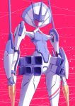 absurdres blue_eyes breasts closed_mouth commentary_request darling_in_the_franxx delphinium_(darling_in_the_franxx) diagonal_stripes feet_out_of_frame fish.boy from_below highres holding holding_lance holding_weapon humanoid_robot joints lance looking_at_viewer looking_down magenta_background mecha no_humans one_eye_covered polearm robot small_breasts standing striped thighs thrusters weapon
