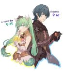 1boy 1girl a082 armor black_armor black_gloves blue_eyes blue_hair byleth byleth_(male) crossover cup drinking drinking_straw fire_emblem fire_emblem:_three_houses frey_(rune_factory) glass gloves green_eyes green_hair hair_ornament holding holding_cup long_hair nintendo_switch parted_lips release_date rune_factory rune_factory_4 short_hair simple_background twintails upper_body white_background white_gloves