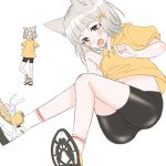 1girl absurdres alternate_costume animal_ears ass bangs bike_shorts blunt_bangs blush breasts cat_ears drawstring grey_hair hair_ornament highres hood hoodie multiple_views niyah no_gloves ribbon shoes short_hair simple_background small_breasts sneakers socks white_background xenoblade_(series) xenoblade_2 yellow_eyes yellow_hoodie yellow_ribbon