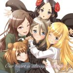5girls ange_(princess_principal) beatrice_(princess_principal) black_bow black_dress black_eyes black_hair blonde_hair blue_eyes blush bow braid brown_hair chestnut_mouth dorothy_(princess_principal) double_bun dress english_text flower frown green_dress hair_flower hair_ornament holding_hands hug juliet_sleeves long_sleeves looking_at_viewer multiple_girls one_eye_closed princess_(princess_principal) princess_principal puffy_sleeves short_hair simple_background smile taniguchi_gou toudou_chise violet_eyes