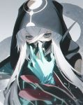 1boy asclepius_(fate/grand_order) bangs black_jacket face_mask fate/grand_order fate_(series) gloves green_eyes grey_hair hair_between_eyes hand_up hood hood_up hooded_jacket jacket latex latex_gloves long_hair long_sleeves looking_at_viewer mask sidelocks sleeves_past_fingers sleeves_past_wrists solo upper_body wanke
