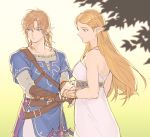 1boy 1girl bangs bare_shoulders belt belt_buckle blonde_hair blue_eyes blue_tunic breasts buckle closed_mouth collarbone dress eyes_visible_through_hair fingerless_gloves from_side gloves green_eyes highres holding holding_hands holding_sword holding_weapon jewelry kiru_(sorr5042) link long_hair long_sleeves looking_down looking_to_the_side master_sword necklace parted_bangs pointy_ears princess_zelda simple_background sleeveless standing sword the_legend_of_zelda the_legend_of_zelda:_breath_of_the_wild tunic upper_body weapon white_background
