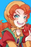1girl blue_eyes blush breasts commentary_request curly_hair dragon_quest dragon_quest_vii dress hood long_hair looking_at_viewer maribel_(dq7) open_mouth redhead simple_background smile solo