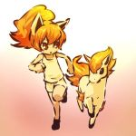 1girl animal_ears bare_shoulders blush_stickers brown_eyes fiery_hair fiery_tail fire fire_hair hitec horse leg_up moemon open_mouth personification pokemon pokemon_(creature) pokemon_(game) pokemon_rgby ponyta ponytail red_hair redhead running shorts simple_background sleeveless tank_top