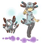 costume eye eyes floating hitec levitation magnet magneton moemon nintendo pantyhose personification pokemon pokemon_(game) pokemon_rgby screw short_hair silver_hair simple_background stare