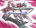 blue_eyes busou_shinki juvisy kugelschreiber pink_hair short_hair sketch solo sword weapon