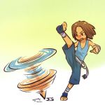 bandage brown_hair fighter hitec hitmontop kick kicking moemon nintendo pants personification pokemon pokemon_(game) pokemon_gsc spin spinning