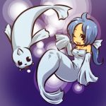1girl ahoge bare_shoulders blue_hair blush blush_stickers bow breasts cleavage detached_sleeves dewgong dress fangs hitec horn long_hair moemon open_mouth personification pokemon pokemon_(creature) pokemon_(game) pokemon_rgby ponytail seal simple_background sleeves_past_wrists tail wink