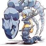 1girl armor bare_shoulders blue_hair costume grin hitec midriff moemon personification pokemon pokemon_(creature) pokemon_(game) pokemon_gsc ponytail rock rocks sexual_dimorphism sleeveless smile steelix tail