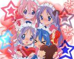 1280x1024 blush chocolate enmaided glasses heart hearts hiiragi_kagami hiiragi_tsukasa izumi_konata lucky_star maid star stars takara_miyuki tsundere valentine wallpaper