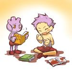 1boy :d bandage bandages blush blush_stickers book brown_eyes closed_eyes hitec male moemon open_mouth personification pokemon pokemon_(creature) pokemon_(game) pokemon_gsc purple_hair shirtless shoes shorts sitting smile standing topless translated tyrogue white_background