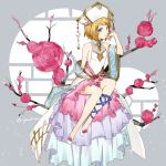 1girl blonde_hair blue_eyes blue_ribbon breasts flower full_body grey_background hat kanimaru leg_ribbon miniskirt pink_flower pink_rose pink_skirt pokemon pokemon_(anime) ribbon rose serena_(pokemon) shiny shiny_hair short_hair sideboob sitting skirt sleeveless small_breasts solo sparkle twitter_username white_headwear