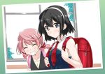 2girls akashi_(kantai_collection) backpack bag bare_shoulders black_hair blush grey_eyes grin hairband kantai_collection long_hair low_twintails medium_hair mikage_takashi multiple_girls neckerchief no_eyewear ooyodo_(kantai_collection) photo_(object) pink_hair randoseru short_hair smile twintails upper_body younger