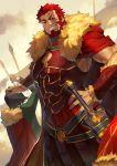 2boys armor beard black_hair bracer cape facial_hair fate/grand_order fate/zero fate_(series) fur-trimmed_cape fur_trim grin hand_on_hip highres male_focus multiple_boys petting redhead rider_(fate/zero) smile sukocchi sword waver_velvet weapon