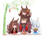 4girls :d akagi-chan_(azur_lane) akagi_(azur_lane) amagi_(azur_lane) animal_ears azur_lane bamboo basket bell blue_eyes brown_hair chibi closed_eyes commentary_request fox_ears fox_tail full_body hair_bell hair_ornament kaga_(azur_lane) long_hair multiple_girls on_head open_mouth person_on_head putimaxi red_eyes short_hair smile standing tail tanabata tanzaku white_hair wide_sleeves