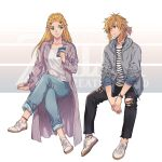 1boy 1girl alternate_costume bangs blonde_hair blue_eyes blue_ribbon braid casual cellphone closed_mouth collarbone collared_shirt commentary contemporary denim ed_(chibied) english_text eyebrows_visible_through_hair green_eyes hair_ornament hair_ribbon hairclip highres holding holding_cellphone holding_phone hood hood_down jeans link long_hair long_sleeves looking_at_another pants parted_bangs phone pointy_ears ponytail princess_zelda pullover ribbon shirt shoelaces shoes sidelocks simple_background sitting smile sneakers the_legend_of_zelda the_legend_of_zelda:_breath_of_the_wild torn_clothes torn_pants watch white_footwear