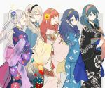 5girls alternate_hairstyle arms_around_waist blue_eyes blue_hair braid byleth byleth_(female) cecilia_(fire_emblem) commentary_request corrin_(fire_emblem) corrin_(fire_emblem)_(female) female_my_unit_(fire_emblem:_fuukasetsugetsu) female_my_unit_(fire_emblem:_kakusei) female_my_unit_(fire_emblem_if) fire_emblem fire_emblem:_fuukasetsugetsu fire_emblem:_kakusei fire_emblem:_three_houses fire_emblem_awakening fire_emblem_echoes:_mou_hitori_no_eiyuuou fire_emblem_echoes:_shadows_of_valentia fire_emblem_fates fire_emblem_gaiden fire_emblem_if floral_print flower green_hair hair_flower hair_ornament hand_on_another's_shoulder intelligent_systems japanese_clothes kamui_(fire_emblem) kimono long_hair looking_at_viewer lucina medium_hair multiple_girls my_unit_(fire_emblem:_fuukasetsugetsu) my_unit_(fire_emblem:_kakusei) my_unit_(fire_emblem_if) nintendo open_mouth red_eyes reflet robin_(fire_emblem) robin_(fire_emblem)_(female) sasaki_(dkenpisss) side_braid silver_hair smile summer summer_festival super_smash_bros. twintails