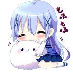 1girl ^_^ angora_rabbit animal animal_hug bangs blue_footwear blue_hair blue_skirt blue_vest blush chibi chocolat_(momoiro_piano) closed_eyes commentary_request eyebrows_visible_through_hair facing_viewer full_body gochuumon_wa_usagi_desu_ka? hair_between_eyes kafuu_chino long_hair long_sleeves looking_at_viewer pleated_skirt rabbit rabbit_house_uniform shirt shoes simple_background sitting skirt socks tippy_(gochiusa) translated uniform very_long_hair vest waitress wariza white_background white_legwear white_shirt