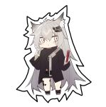 1girl animal_ear_fluff animal_ears arknights bangs black_jacket black_legwear black_shorts blush bridal_gauntlets chibi closed_mouth echj eyebrows_behind_hair full_body grey_footwear grey_hair hair_between_eyes hair_ornament hairclip holding jacket lappland_(arknights) long_hair long_sleeves scar scar_across_eye short_shorts shorts socks solo standing very_long_hair white_background wide_sleeves
