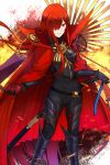 1girl bangs black_bodysuit bodysuit breasts cape chain fate/grand_order fate_(series) fire grin hair_over_one_eye highres katana koha-ace large_breasts long_hair looking_at_viewer oda_nobunaga_(maou_avenger)_(fate) popped_collar red_cape red_eyes redhead shiguru smile solo sword thighs very_long_hair weapon