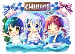 3girls :d ^_^ anchor angora_rabbit bangs bare_arms bare_shoulders blue_bow blue_eyes blue_hair blue_sky blush bow chibi chimame-tai chocolat_(momoiro_piano) closed_eyes clouds cloudy_sky collarbone commentary_request day eyebrows_visible_through_hair fang gochuumon_wa_usagi_desu_ka? green_hair hair_between_eyes hair_ornament hair_scrunchie inflatable_dolphin inflatable_toy innertube jouga_maya kafuu_chino lifebuoy long_hair multiple_girls natsu_megumi one-piece_swimsuit open_mouth parted_lips rabbit red_bow redhead ringlets school_swimsuit scrunchie seashell shell sky smile striped striped_bow swimsuit tippy_(gochiusa) twintails very_long_hair water white_school_swimsuit white_scrunchie white_swimsuit x_hair_ornament yellow_eyes