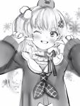 1girl blush bow copyright_request fingers_to_cheeks flower greyscale grin hair_flower hair_ornament highres long_sleeves looking_at_viewer monochrome nanashi_(nlo) neckerchief one_side_up pom_pom_(clothes) pom_pom_hair_ornament school_uniform serafuku smile solo upper_body