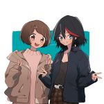 2girls bangs belt black_belt black_hair black_shirt blue_background blue_eyes brown_eyes brown_hair brown_jacket brown_pants brown_sweater casual commentary double_v drawstring eyebrows_visible_through_hair grin hair_ornament hairclip highres hood hoodie jacket kill_la_kill long_sleeves looking_at_viewer mankanshoku_mako matoi_ryuuko mittsun multicolored_hair multiple_girls navy_blue_jacket open_clothes open_jacket open_mouth pants plaid plaid_pants shirt short_hair smile standing streaked_hair sweater swept_bangs twitter_username two-tone_hair upper_body v white_background