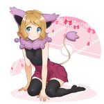 1girl :3 animal_ears black_legwear black_shirt blonde_hair blue_eyes blush breasts closed_mouth delcatty eyebrows_visible_through_hair fake_animal_ears kanimaru looking_at_viewer miniskirt pleated_skirt poke_ball pokemon pokemon_(anime) purple_skirt serena_(pokemon) shirt short_hair simple_background skirt sleeveless sleeveless_shirt small_breasts solo tail thigh-highs white_background zettai_ryouiki