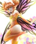 1girl :d ass bangs bare_shoulders butterfly_wings detached_sleeves eyebrows_visible_through_hair fairy feo_ul final_fantasy final_fantasy_xiv fingernails flat_chest highres leg_up leotard long_fingernails long_sleeves open_mouth orange_hair orange_legwear orange_leotard pointy_ears puramu purple_nails purple_wings sharp_fingernails short_hair short_twintails smile solo strapless strapless_leotard teeth thigh-highs twintails twitter_username violet_eyes wings