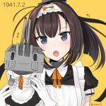 1girl :o ahoge akizuki_(kantai_collection) alternate_costume anniversary apron black_hair blue_eyes blush chou-10cm-hou-chan enmaided gloves hair_ornament headband kantai_collection looking_at_viewer maid maid_apron neck_ribbon ponytail ribbon simple_background white_gloves yellow_background yellow_ribbon yunamaro |_|